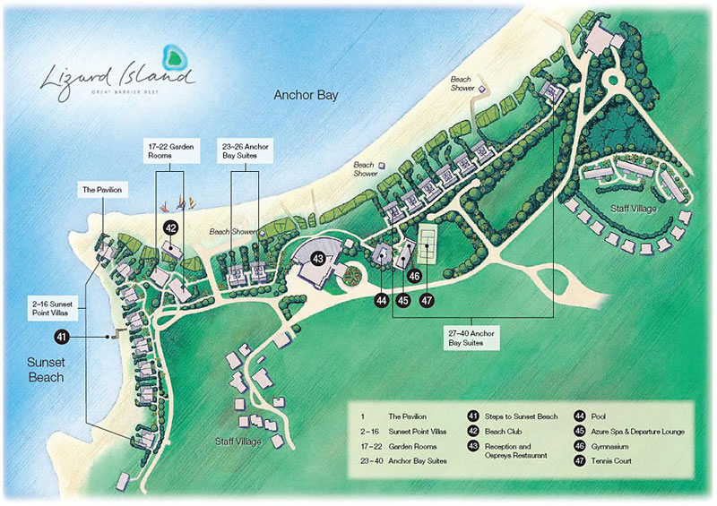 Lizard Island Resort Map